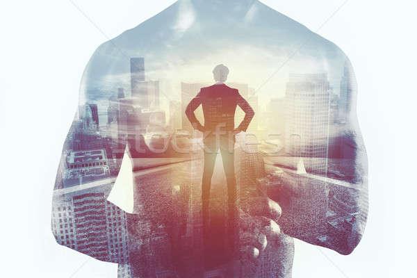 Macht vechter zakenman verdubbelen blootstelling Stockfoto © alphaspirit