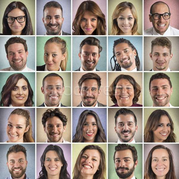 Colorful  smiling faces collage Stock photo © alphaspirit