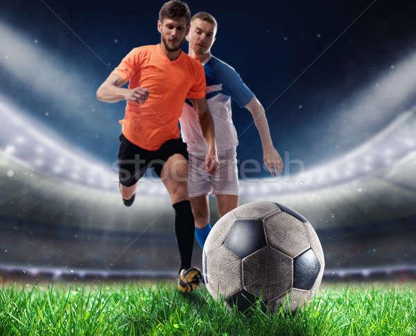 Calcio giocatori giocare stadio prato Foto d'archivio © alphaspirit