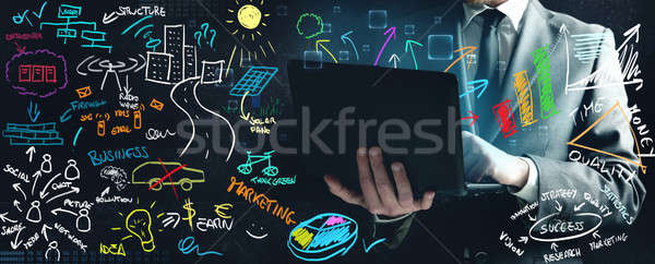 Zakenman werken nieuwe ideeën werk computer Stockfoto © alphaspirit