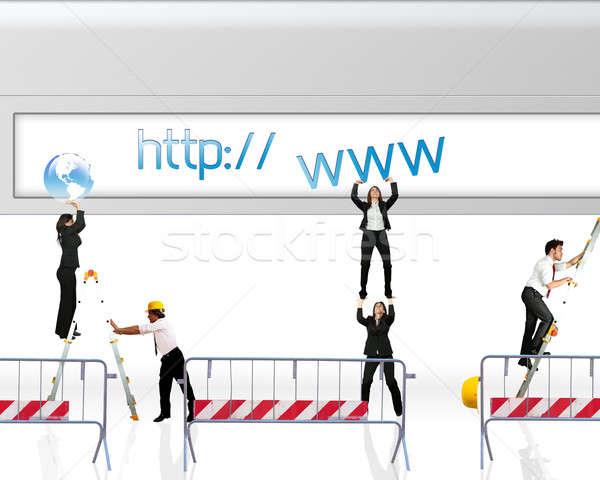 Weboldal építkezés üzlet lány férfi munka Stock fotó © alphaspirit
