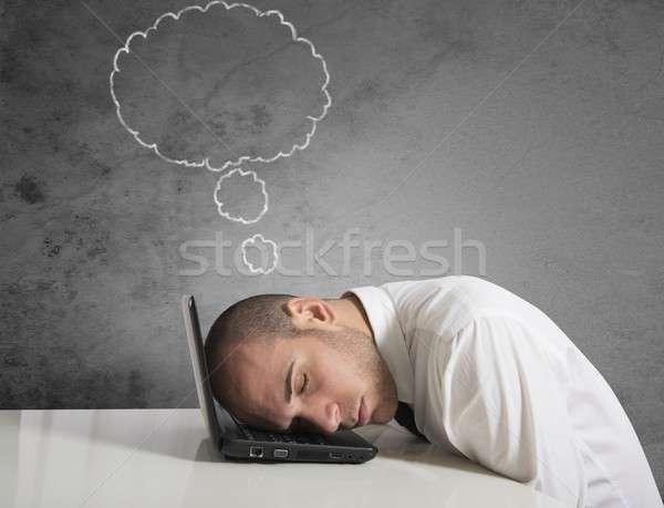Affaires rêves dormir portable travailleur Finance Photo stock © alphaspirit