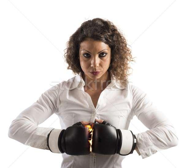 Határozott üzletasszony boxkesztyűk nő lány munka Stock fotó © alphaspirit