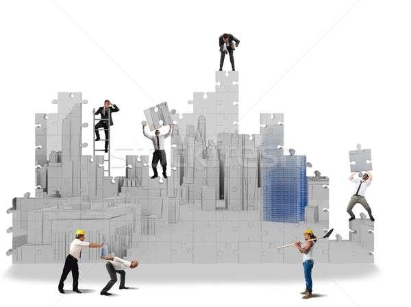 построить 3D команда сотрудничать строительство Сток-фото © alphaspirit
