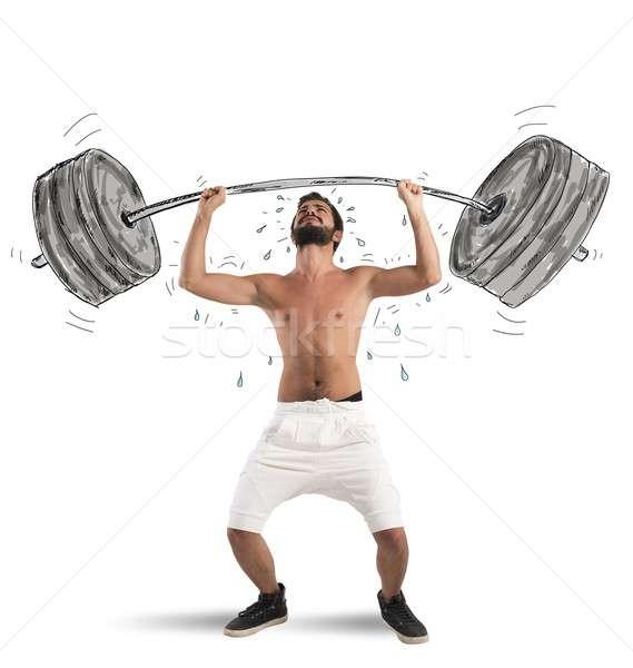 Sportowiec chłopca ciężki człowiek sportowe Zdjęcia stock © alphaspirit