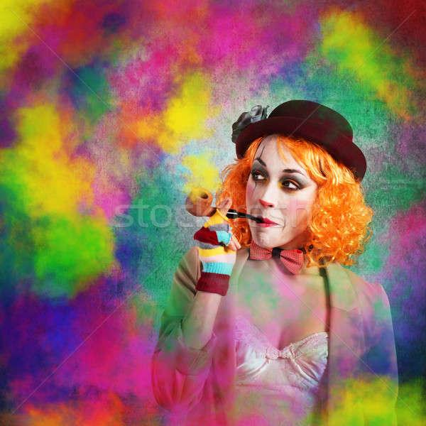 Clown kolorowy dymu palenia rury kobieta Zdjęcia stock © alphaspirit