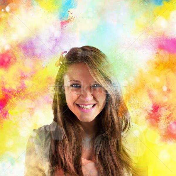 Colourful spring smile Stock photo © alphaspirit