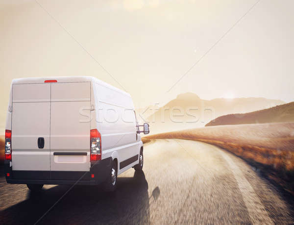 Transport truck. 3D Rendering Stock photo © alphaspirit