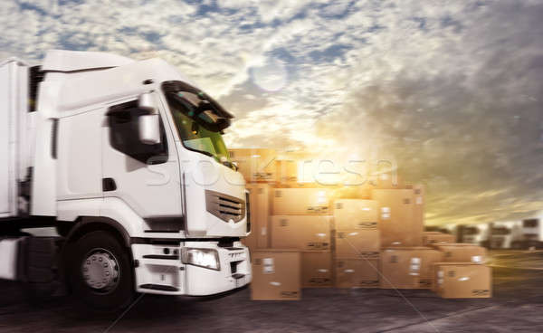 Stock photo: Truck in a deposit with packages ready to start