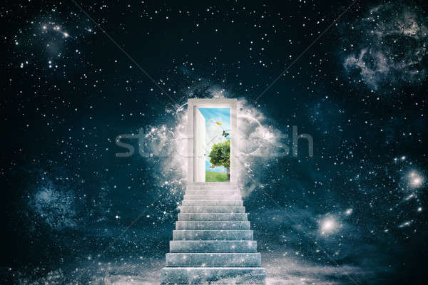 New green worlds behind the door Stock photo © alphaspirit