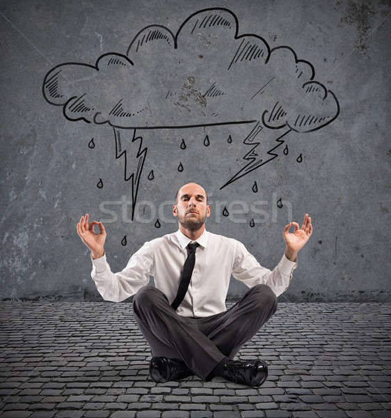 üzletember gyakorlat jóga esős felhő hangsúlyos Stock fotó © alphaspirit