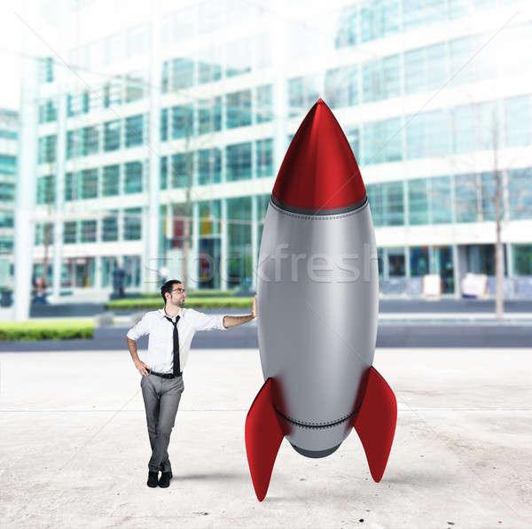 Startup nieuwe bedrijf raket business groei Stockfoto © alphaspirit