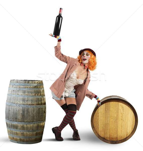 Funny borracho payaso vino botellas mujer Foto stock © alphaspirit