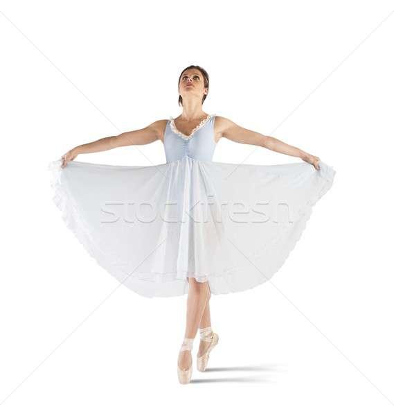 Klassiek bevallig danser poseren vrouw muziek Stockfoto © alphaspirit