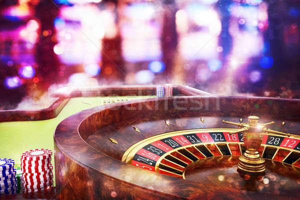 3D casino roulette geld cash Stockfoto © alphaspirit