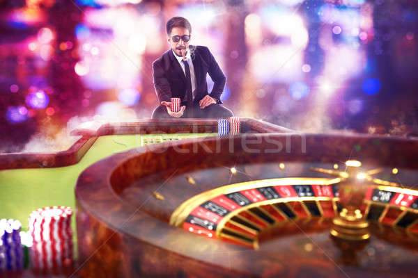 3D kumarbaz oynama rulet adam Stok fotoğraf © alphaspirit