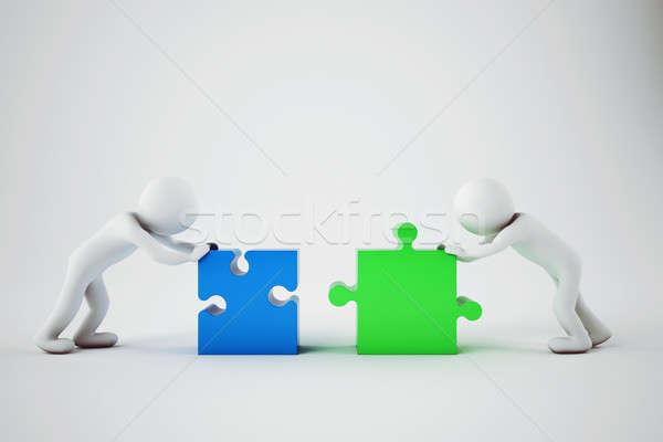 белый построить компания команде 3D Сток-фото © alphaspirit