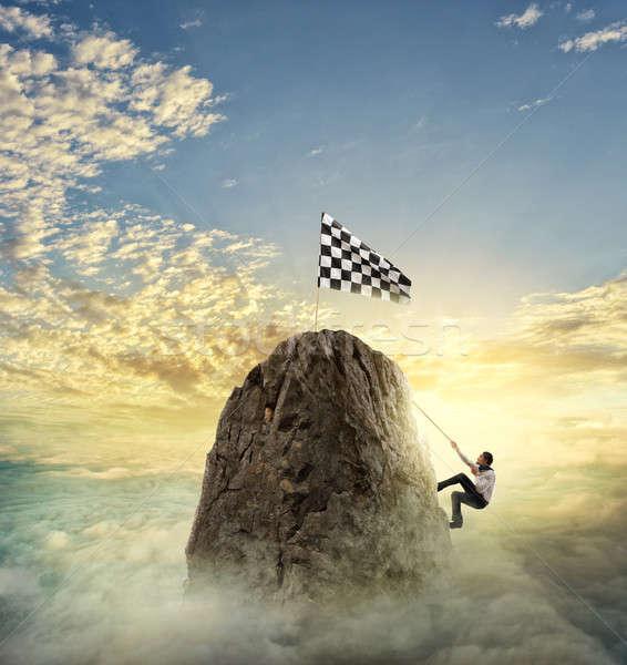 Stockfoto: Zakenman · bereiken · doel · moeilijk · carriere · klim