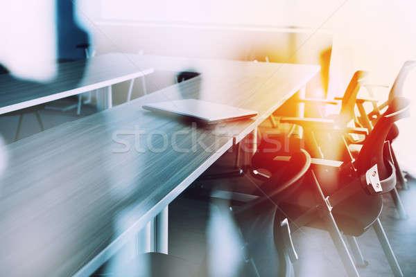 Absztrakt üzleti megbeszélés szoba elmosódott emberek üzlet Stock fotó © alphaspirit
