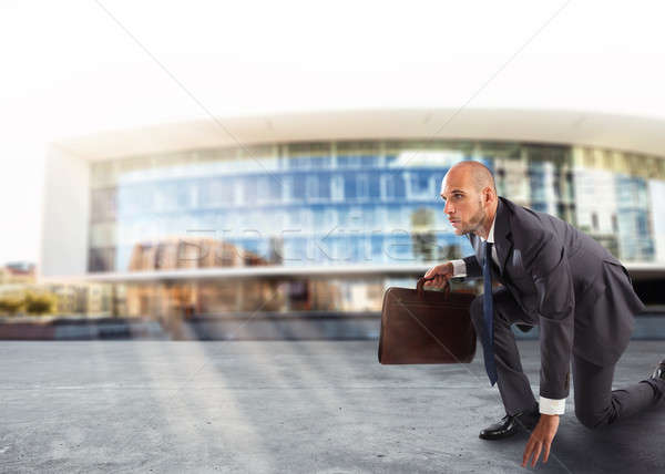 Businessman ready to start. Competition and challenge in business concept Stock photo © alphaspirit