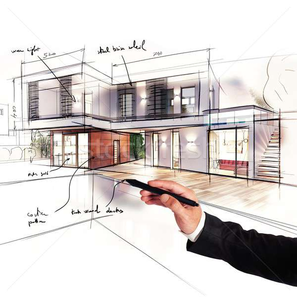Project villa architect ontwerpen business man Stockfoto © alphaspirit