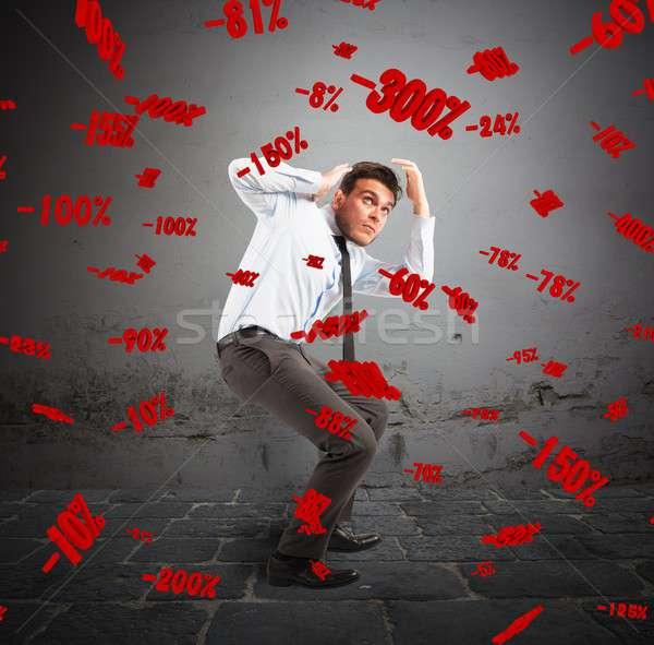 Négatifs pourcentages homme peur affaires travailleur Photo stock © alphaspirit