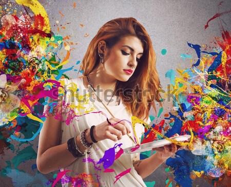 Kadınlık kız geri çiçekler renkler Stok fotoğraf © alphaspirit