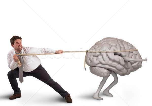 Beyin boşaltmak adam halat çalışmak işçi Stok fotoğraf © alphaspirit