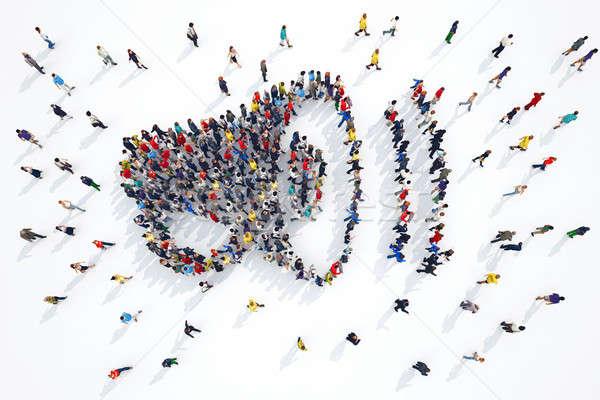 3D megafone pessoas negócio multidão Foto stock © alphaspirit