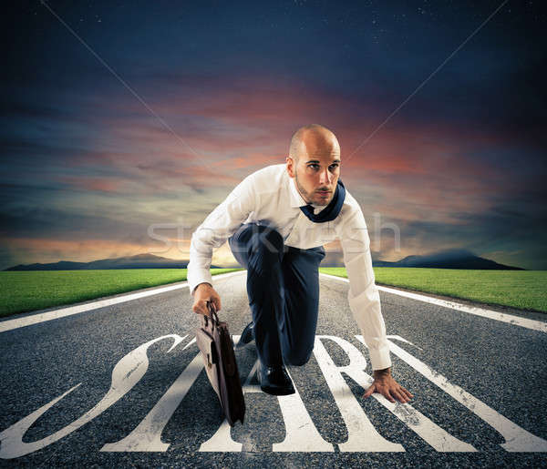 Foto stock: Empresário · pronto · começar · carreira · correr · futuro