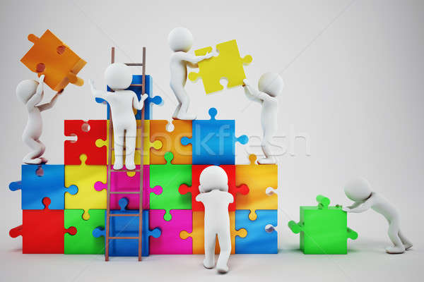 White people build a company. Concept of parthership and teamwork. 3D rendering Stock photo © alphaspirit