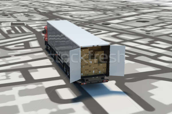 GPS tracking and shipment. 3D Rendering Stock photo © alphaspirit