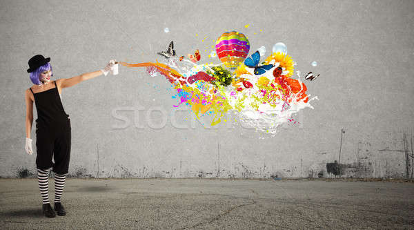 Femme clown spray fille amusement Photo stock © alphaspirit