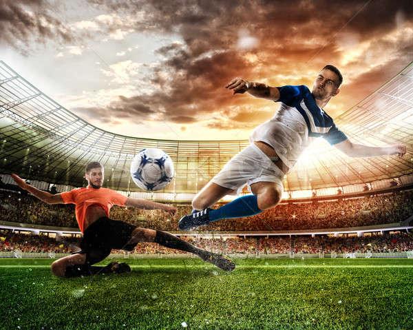 Voetbal scène spelers stadion actie Stockfoto © alphaspirit