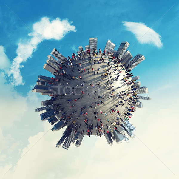 Wereld werk 3D zakenlieden planeet Stockfoto © alphaspirit