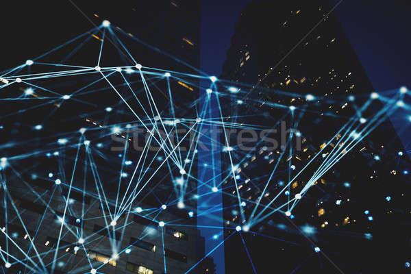 Soyut Internet bağlantı ağ gece şehir Stok fotoğraf © alphaspirit