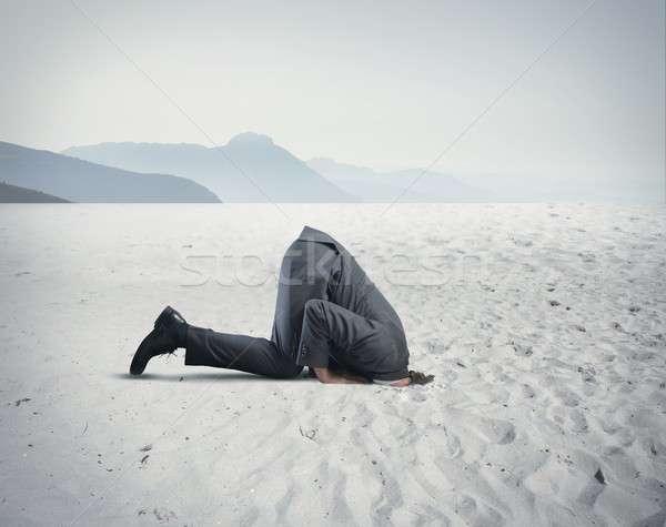 Zakenman zoals struisvogel angst werk lichaam Stockfoto © alphaspirit