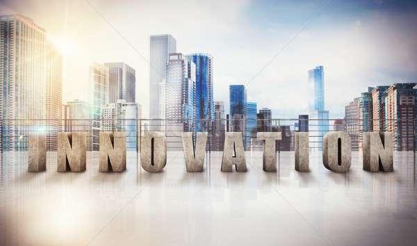 3D negocios innovación vista escrito Foto stock © alphaspirit