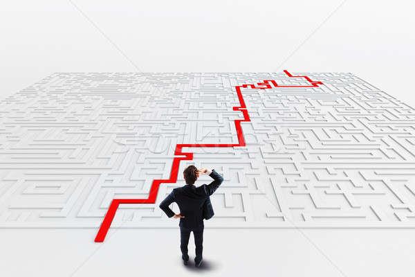 Foto d'archivio: Labirinto · soluzione · 3D · imprenditore · business