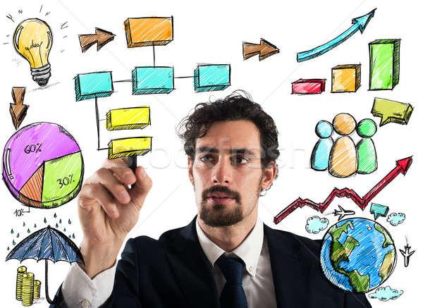 Projet affaires plan homme réseau Photo stock © alphaspirit