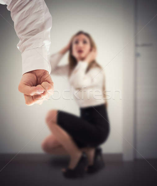 Geweld vrouwen hevig boos man bange Stockfoto © alphaspirit