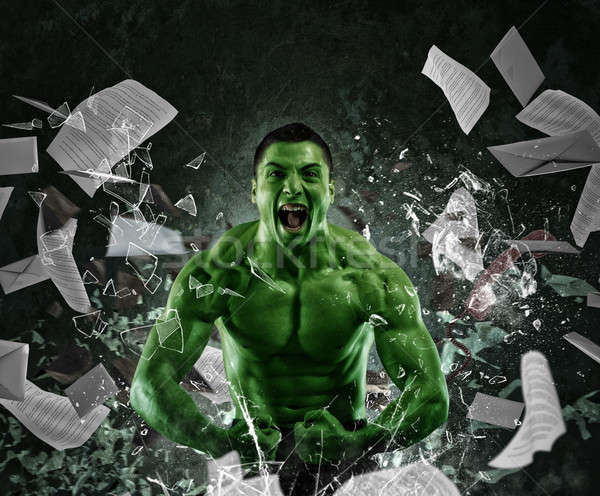 Green powerful muscular man Stock photo © alphaspirit
