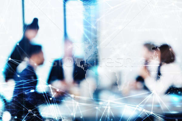 Blurred background with futuristic effect of business people Stock photo © alphaspirit