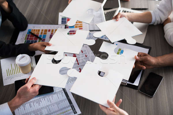 Team of businessmen work together for one goal. Concept of unity and partnership Stock photo © alphaspirit