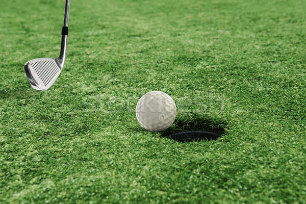 Golfbal gat grasveld groen gras veld golf Stockfoto © alphaspirit