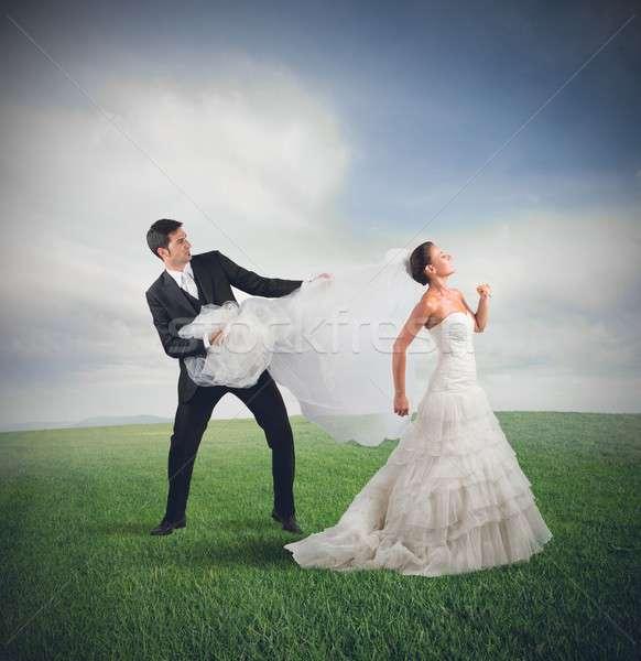невеста далеко муж свадьба человека природы Сток-фото © alphaspirit