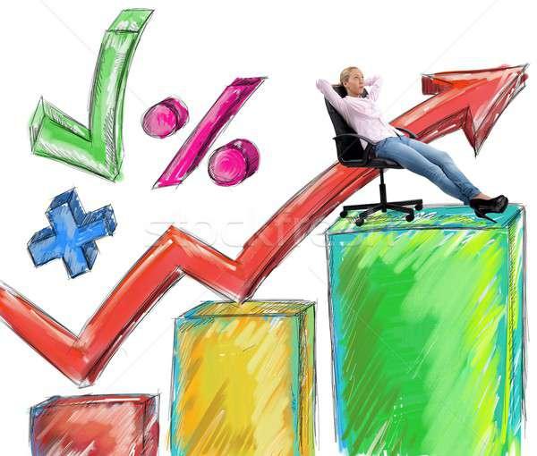 Erfolg Geschäftsfrau erreicht Frau Arbeit Job Stock foto © alphaspirit