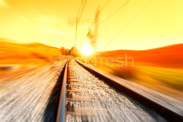 Stock fotó: Vonat · sín · napfelkelte · üzlet · naplemente · utazás