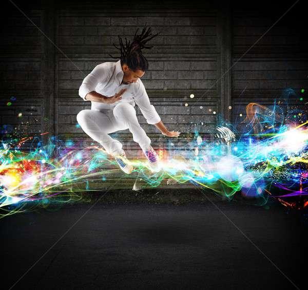 Szabad stílus férfi fényes szín tánc Stock fotó © alphaspirit