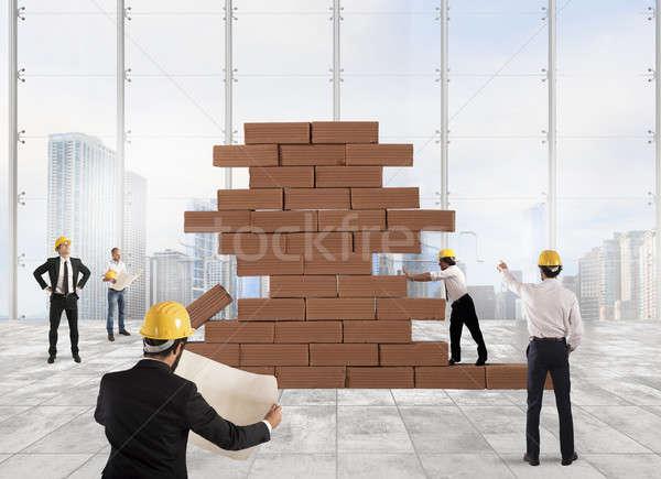 Werken project team bakstenen bouw man Stockfoto © alphaspirit